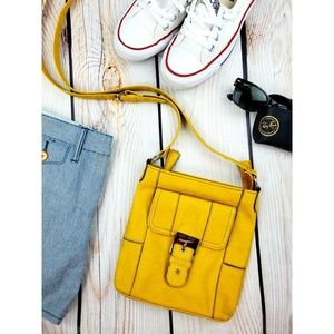 Nine West vegan leather crossbody purse yellow
